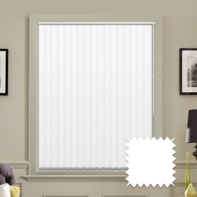 "Made to measure 5"" vertical blinds in Unicolour Naro White plain fabric - Just Blinds"
